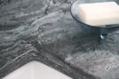 Crowsfoot double vanity countertop closeup