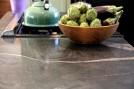 Quicksilver wraparound kitchen counter closeup