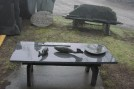Garden display - table, bench, platter, carved fish